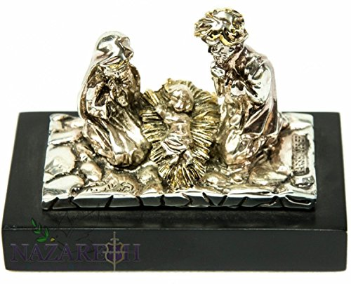 Holy Family Silver Plated Statue Figurine with Baby Jesus in Cradle Holyland 4.3'' by Holy Land Gifts