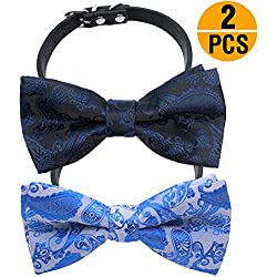 "YOY Handcrafted Adorable Pet Bow Ties - 2-Pack Adjustable Dog Collar Paisley Bowties Neckties Kitty Puppy Grooming Accessories for Doggy Cat, Neck 6.5""- 8.5"" (Small)"