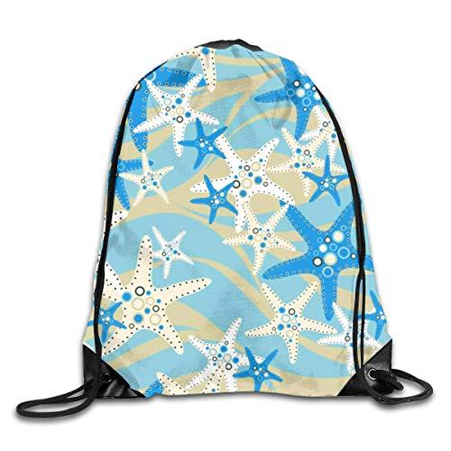 Ocean Starfish Drawstring Bags Backpack Fashion String Cinch Bag Gym Rucksack Lightweight Storage Bag For Picnic]()