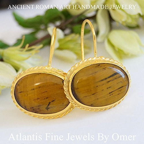 (TIGER EYE EARRINGS 925K STERLING SILVER 24K YELLOW GOLD OVER BY OMER )