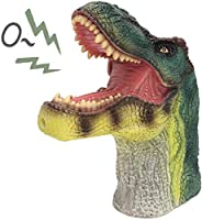 Tecesy Dinosaur Hand Puppet Make Sounds , Rubber Dino Head Toys Animal Gloves Puppets,Realistic T-Rex Role Pla