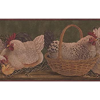 Wallpaper Border Sage Green Framed Country Roosters