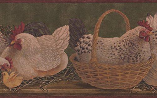 - White Hens Yellow Chicken Basket Sage Green Kitchen Wallpaper Border Retro Design, Roll 15' x 9