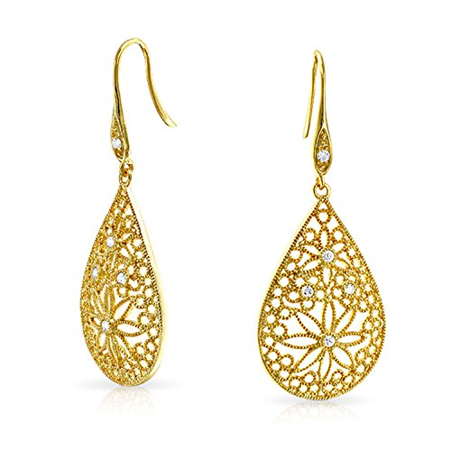 Boho Large Pear Shaped Flower Filigree Dangle Earrings For Women French Wire 14K Gold Plated 925 Sterling -