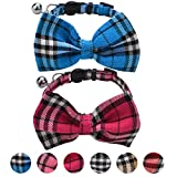 PUPTECK 2 pcs Breakaway Bowtie Cat Collar - Classic Plaid Kitten Collars with Bell Charm Hot Pink & Blue