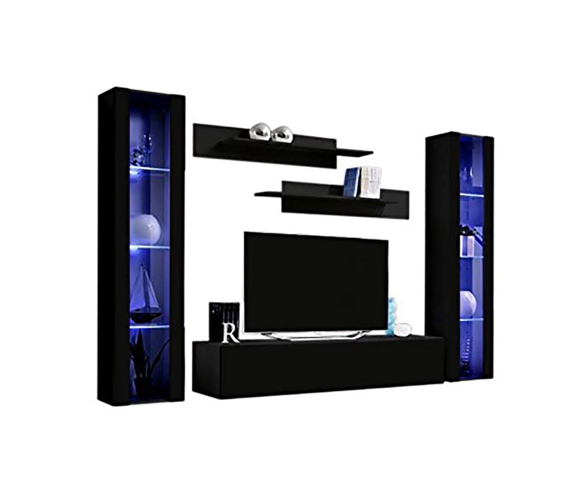 MEBLE FURNITURE & RUGS Wall Mounted Floating Modern Entertainment Center Fly A (Black, B2) by MEBLE FURNITURE & RUGS