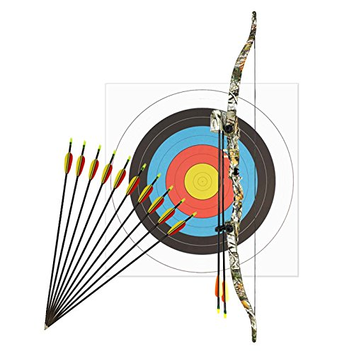 Bogenset Komplettset Hawk Recurvebogen Korrigan Vista Camo 116 cm / 13-28 lbs RH + 12 Pfeile + Zielscheibe 60 cm