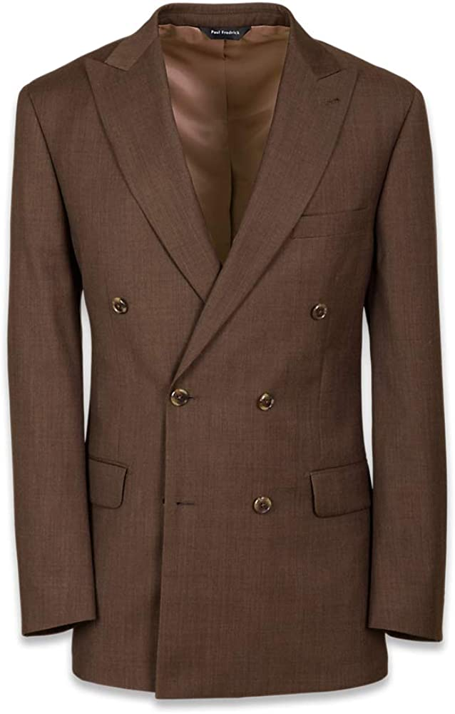 Paul Fredrick Men's Tailored Fit Double Breasted Peak Lapel Suit Jacket