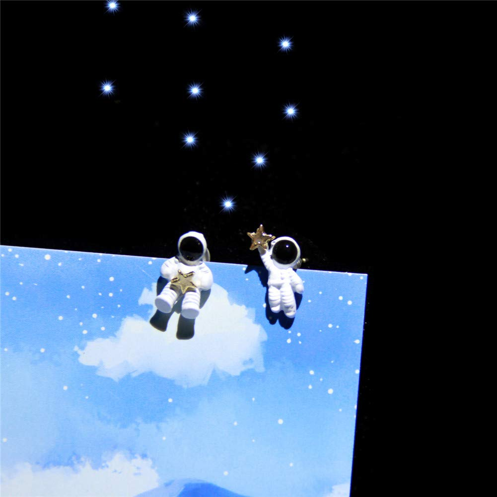 Vigoner Funny Asymmetric Space Astronaut Design Alloy Stud Earrings for Women Girls