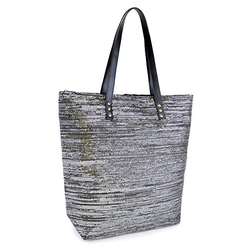 Glitter Beach Womens Shoulder Holiday Summer Silver Dora Bag Reusable Tote Black Zip Metallic Canvas Lora Beach Handbag Bag 8a5gx