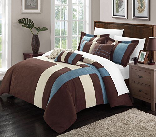 Gina 11-Piece Plush Microsuede Comforter Set, Queen, Blue/Brown/Cream; Bed in a Bag, Sheet Set, 2 Shams and 4 Throw Pillows Included ()