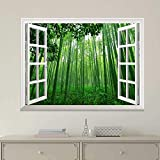 "good looking bamboo wall mural  24""x32"" Wall Print Art Modern White Window Looking Out Into a Green Bamboo Forest Mural Art Paintings for Kitchen/Living Room Office Decor Stretched and Framed"