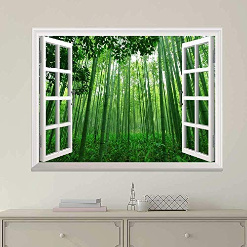 "24""x32"" Wall Print Art Modern White Window Looking Out Into a Green Bamboo Forest Mural Art Paintings for Kitchen/Living Room Office Decor Stretched and Framed"
