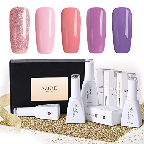 Gel Nail Polish Gift Set(12ml 0.4OZ) - Popular Pink Purple Glitter Series 5 Colors Nail Art Gift Box, Soak Off UV LED Gel Polish Kit ()