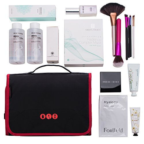 BAGSMART Hanging Travel Toiletry Bag Carry-on Makeup Organizer Folding Cosmetic Bag for Women and Men, Black + Red by BAGSMART (Image #2)