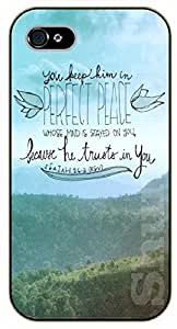 iPhone 5C Bible Verse - You keep him in perfect peace whose mind is stayed on you. Mountains - black plastic case / Verses, Inspirational and Motivational