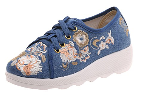 Avacostume Canvas Ricamo Slip Slip Travel Walking Sneaker Blu