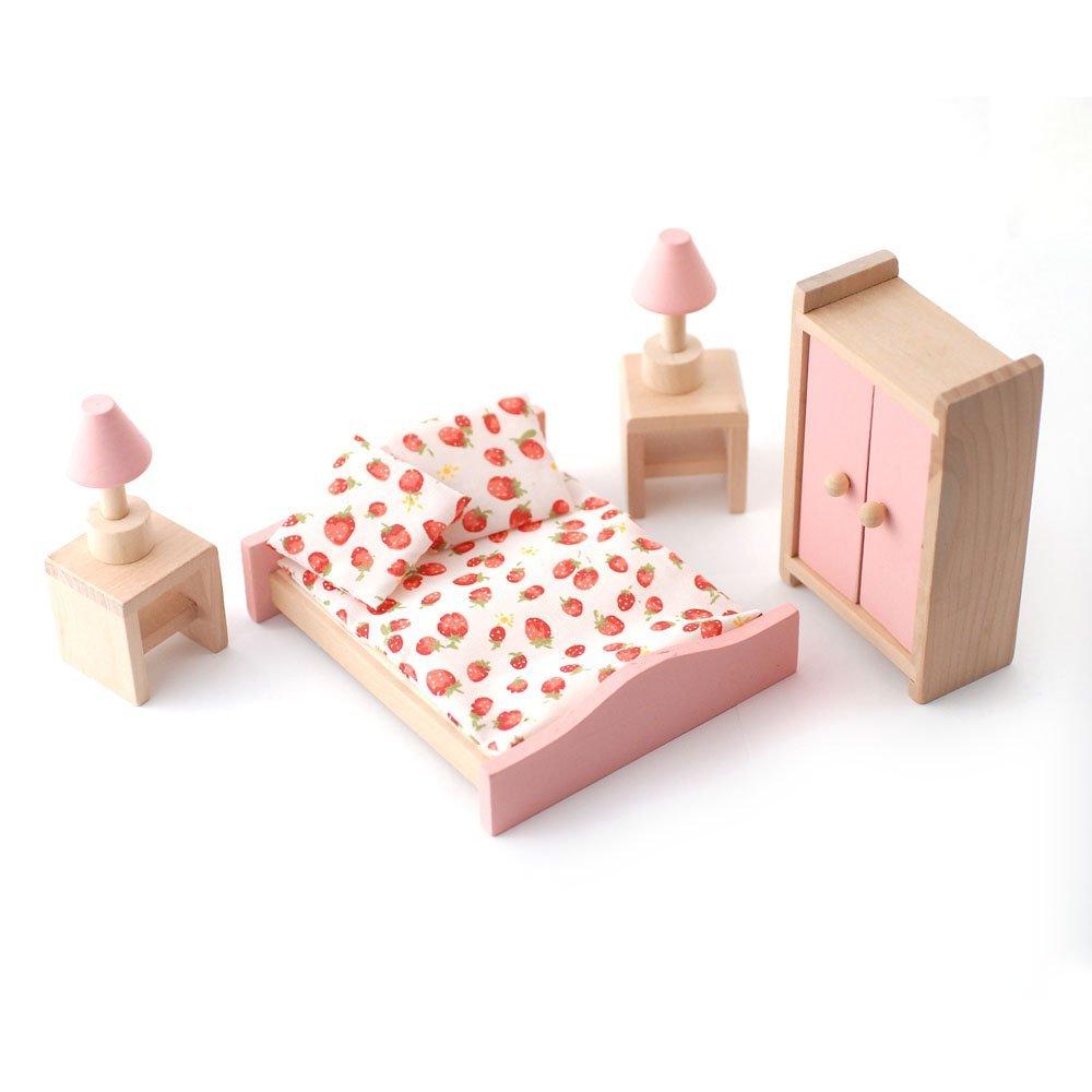 dolls furniture set. wooden dolls house furniture set pink bedroom amazoncouk toys u0026 games o