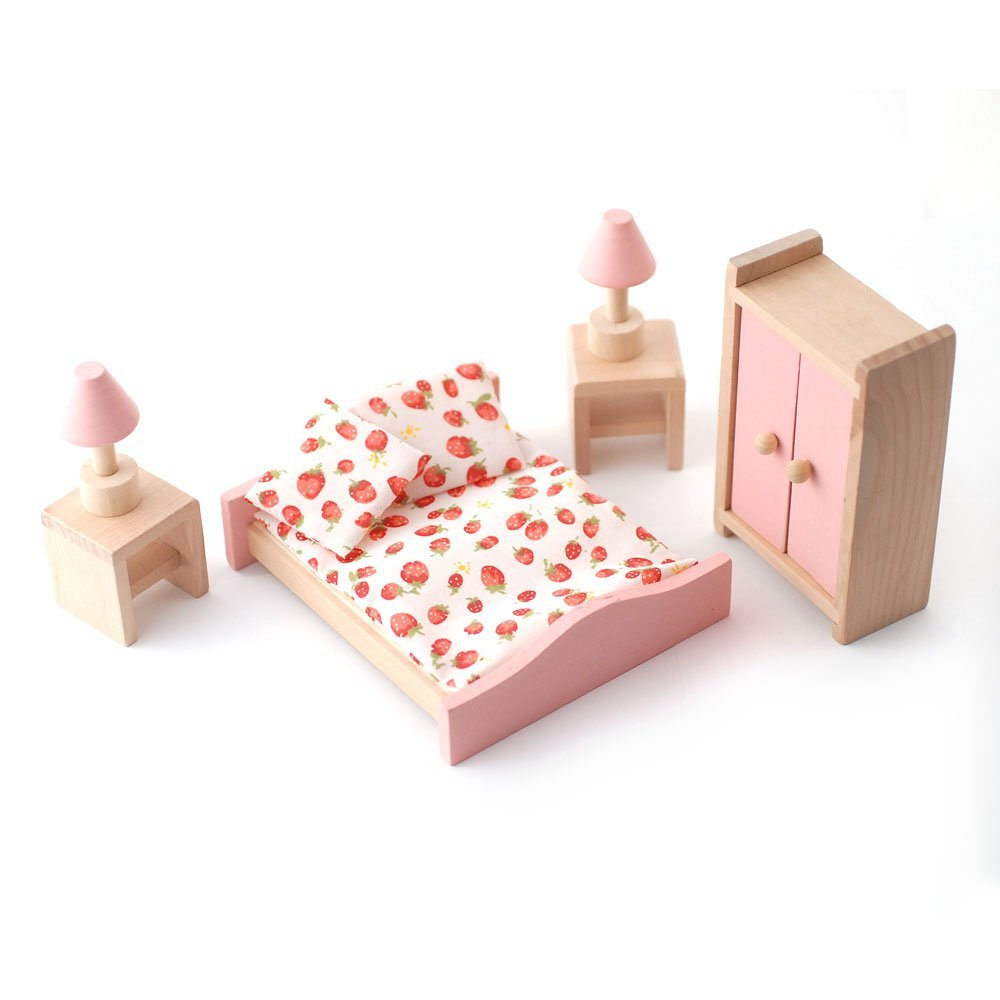 Dolls House Kitchen Furniture Wooden Dolls House Furniture Set Pink Kitchen Amazoncouk