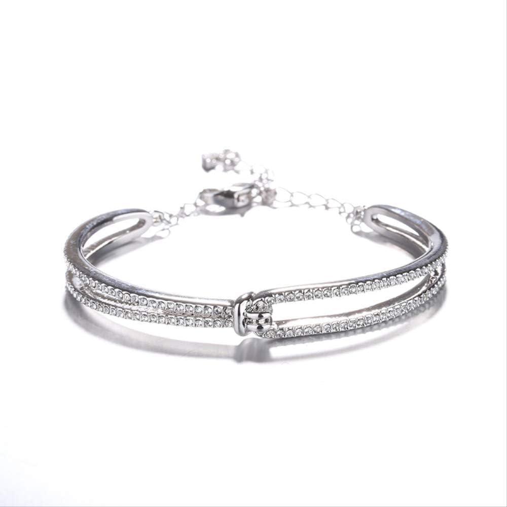 NO BRAND Pulsera de Diamante Completo retorcido versión Coreana de la pequeña Pulsera de Oro Rosa recubierta Fresca joyería de Pulsera de Alta Gama