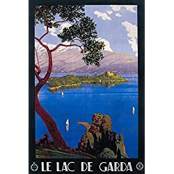 Italy - Lake Garda - Vintage Travel Poster (24x36 SIGNED Print Master Giclee Print w/Certificate of Authenticity - Wall Decor Travel Poster)