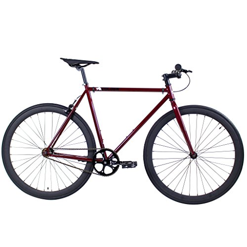 Golden Cycles Single Speed Fixed Redrum 55 Gear Bike with Front & Rear Brakes, Blood Red, 55cm/Large