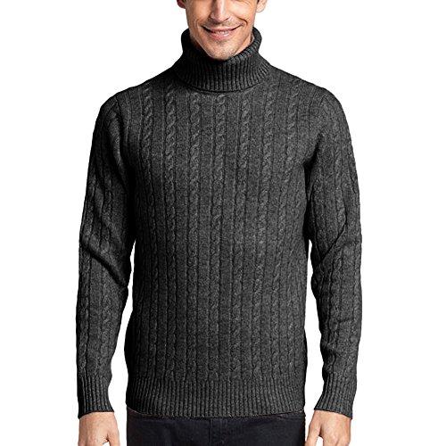 Parisbonbon Men's 100% Cashmere Turtleneck Sweater Color Dark Gray Size L by Parisbonbon (Image #4)