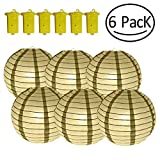 Yobooom Gold Paper Lanterns with Lights Decorative 10 Inch Tall for Wedding Centerpieces Party Event Lamp Birthday Home Decorations Sky Fly - Included 6 Pack