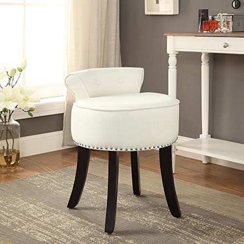 Inspired Home Taylor Linen Contemporary Nail Head Trim Rolled Back Vanity Stool, Cream White