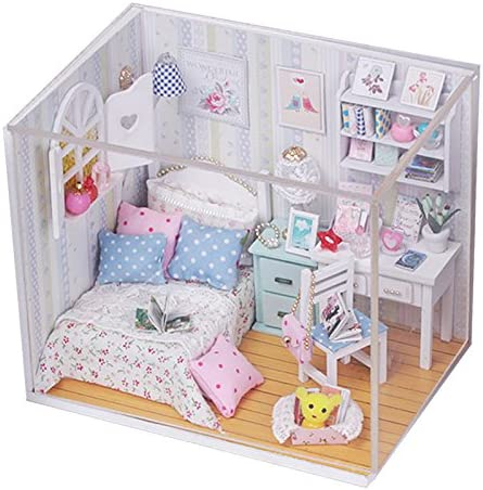 Cute Room DIY Dollhouse Bed Miniature With LED+Furniture+cover Doll House Kits