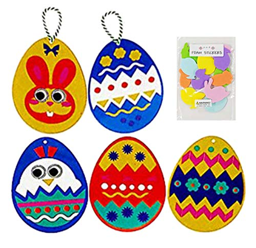 DIY Felt Craft Kit Extra Large Egg Design Ornaments with Googly eyes and Bonus Foam Stickers -