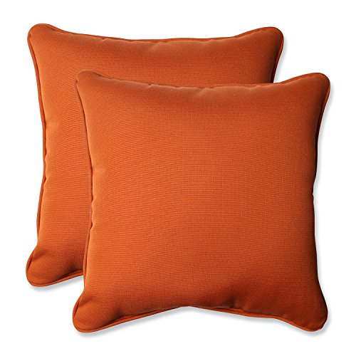 Pillow Perfect Indoor/Outdoor Cinnabar Corded Throw Pillow, 18.5-Inch, Burnt Orange, Set of 2 (Pillow Outdoor Solid)