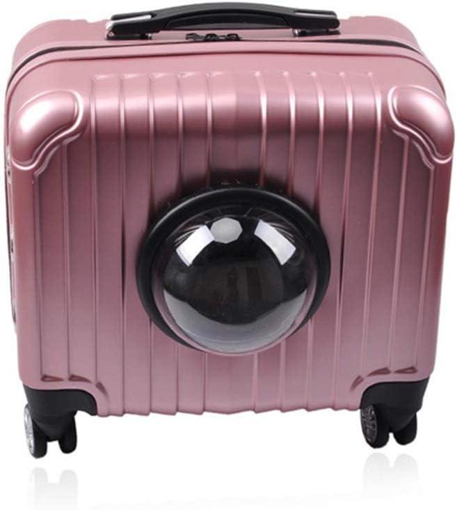 ZZZ Mochila para mascotas de color rosa portátil cápsula espacial perro de gato rueda universal maleta transpirable bolso de malla viaje al aire libre senderismo camping anti-captura bolsa de coche Co
