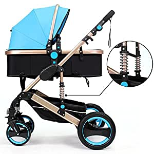 Belecoo™ Luxury Newborn Baby Foldable Anti-shock High View Carriage Infant Stroller Pushchair Pram(Blue)