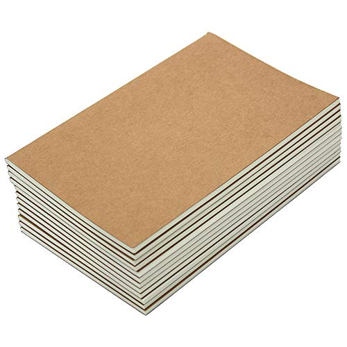 M-Aimee 12 Pack Journal Notebook Kraft Brown Cover Lined Notebooks for Travelers - A5 Size - 5.5 x 8.3 Inches - 80 Lined Pages/ 40 - Recycled Materials 80%