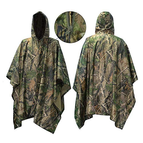 Raincoat Camouflage Mens (Coruva Rain Poncho, Waterproof Rain Poncho Cape Raincoat Outdoor Camping Military Cycling Traveling Hooded Rainwear 3 in 1 Multi-Function with Emergency Grommet Corners for Shelter Use)