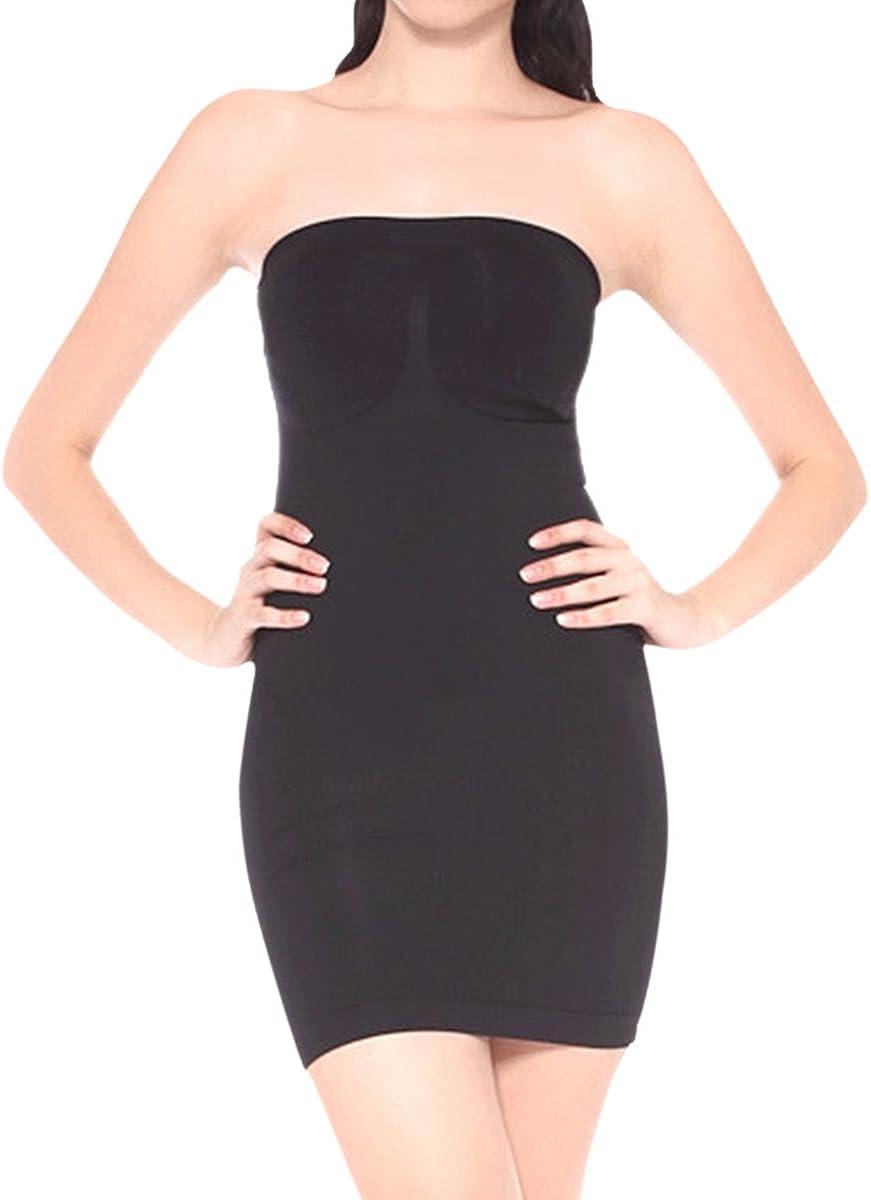 US Women Tube Full Slip Dress Underwear Strapless Body Shaper Control Underdress