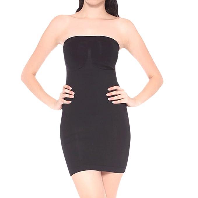 ee9f94e4a0ef Defitshape Women's Seamless Shapewear Strapless Smooth Slip Tube Under  Dresses Body Shaper Black US0/4