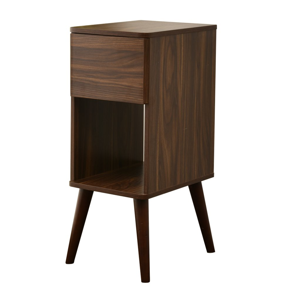 JAJUXIN Wooden End Table Side Table -1 Drawer- Silent Design