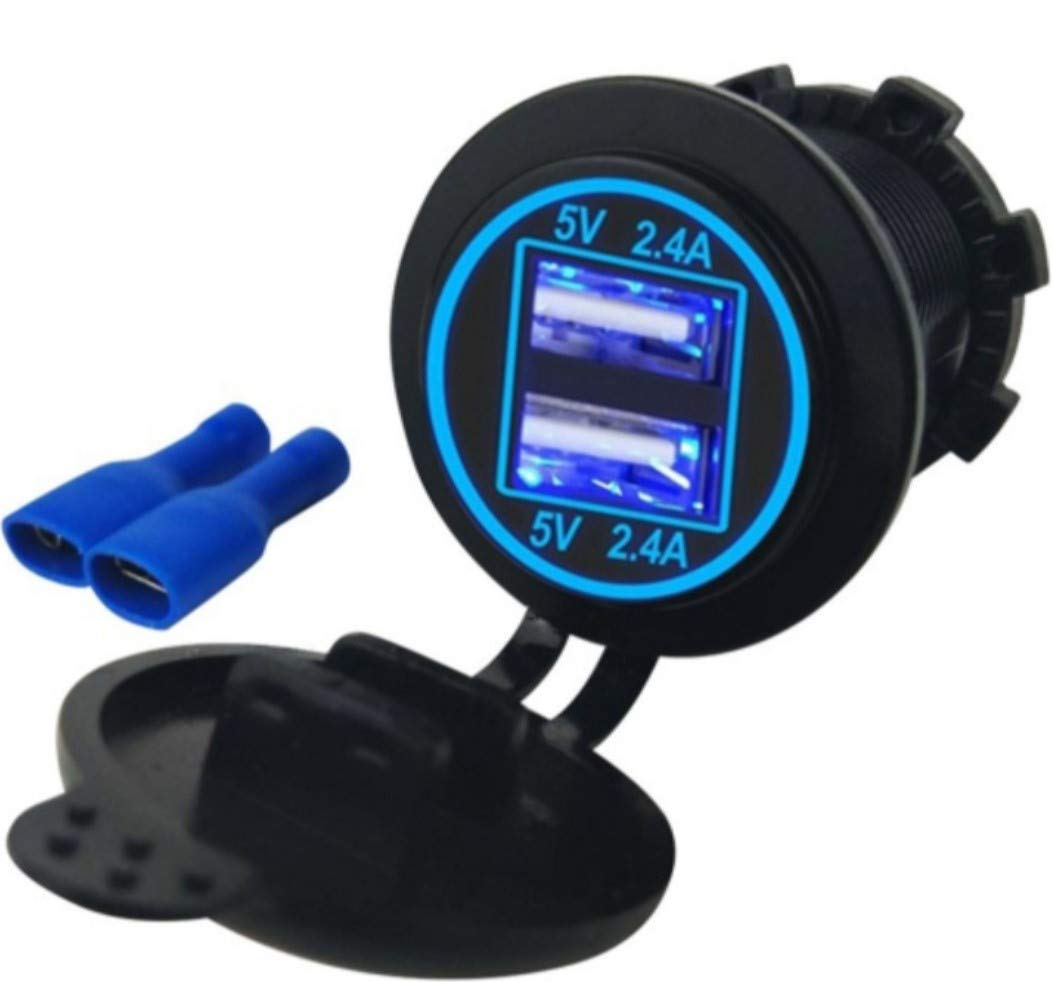 Quick Charger 3.0 Socket, USB + Type C Output w/Blue led Voltmeter & 23.7' Wire with 10A Fuse.for Car, Marine, Boat, Razor 1000, RZR 1000, Jeep, ATV, Truck, Motorcycle. Cirgarette Lighter Replacement Switchtec