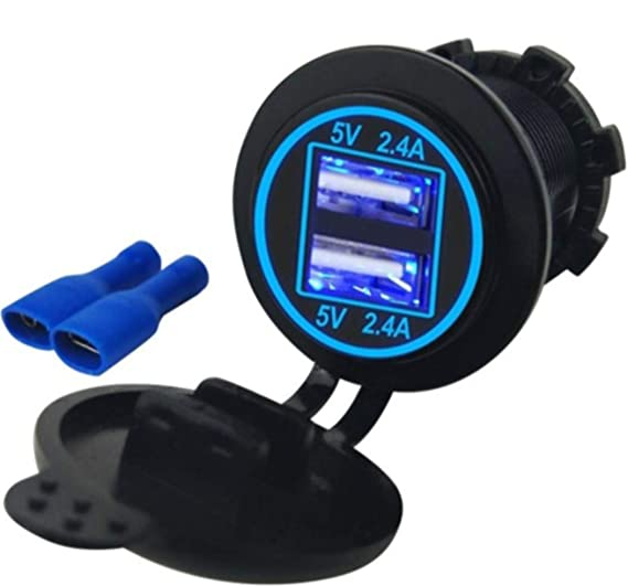 4 8 AMPS Blue-Fast Dual Waterproof USB Socket Charger for Boat, Polaris RZR  900, 1000, Marine, RV, Can Am Spyders, Can Am Maverick, Can AM SxS, Golf
