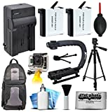 Travel Charger + Battery (2 Pack) + Weather Resistant Backpack +xGrip Action Stabilizing Handle + Full Size Tripod + Floating Handle + Cleaning Kit for GoPro HERO4 Hero 4 Black Silver Camera Camcorder