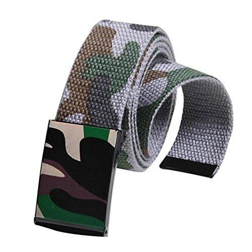 Price comparison product image Mchoice Men Women Automatic Square Buckle Waist Strap Sports Canvas Belts (Grey)