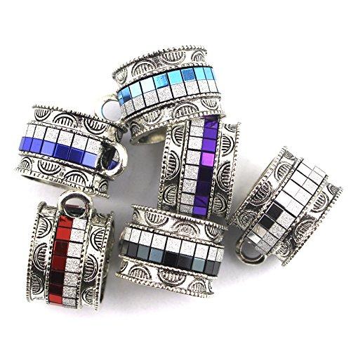 Scarf Jewelry Accessory - PendantScarf 12 Pieces/lot DIY Jewelry Scarf Slides Tubes Bails Accessories (Mix colors - 2 pcs each color)