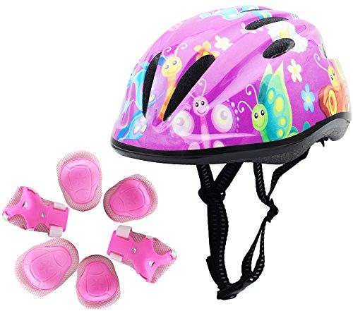 - BeBeFun Pink Girl Toddler and Kids Multi-Sport Bike Super Lightweight Helmet (Butterfly Windmill&Pads)