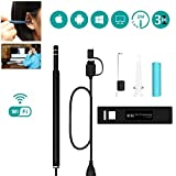 WiFi Ear Cleaning Endoscope, Portable HD Borescope 3 in 1 USB Otoscope For iphone/Android/Windows/Mac, 6 Adjustable LED Light, Ear Wax Removal Tool With IP67 Waterproof Camera
