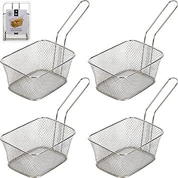 8x Edelstahl Frittierkorb Metall Pommes Korb Pommesschale Servierkorb Silber
