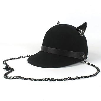 Elodiey Sombrero Del Jinete De La Tejida Sombrero Gorrita Negro Gorro Con Diablo  Años 20 Gato Lindo Sombrero De Oreja Sombrero De Kawaii Sombrero De Mujer  ... 1e4c08e87ca