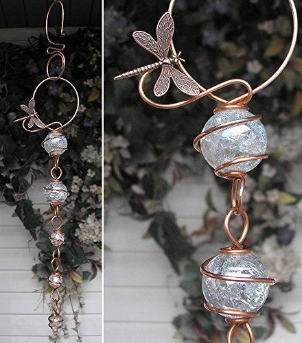 Dragonfly Suncatcher Cascade - Metal Sculpture - Glass Copper Art - Yard Lawn Outdoor Pond Decor Clear
