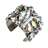Holylove Chunky Bracelet Gold Alloy Multicolor Crystal Glass Large Cuff Bracelet 1 pc with Gift Box- HLB001 Silver